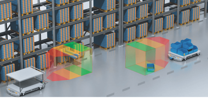 Load detection and 3D collision warning for mobile intralogistics